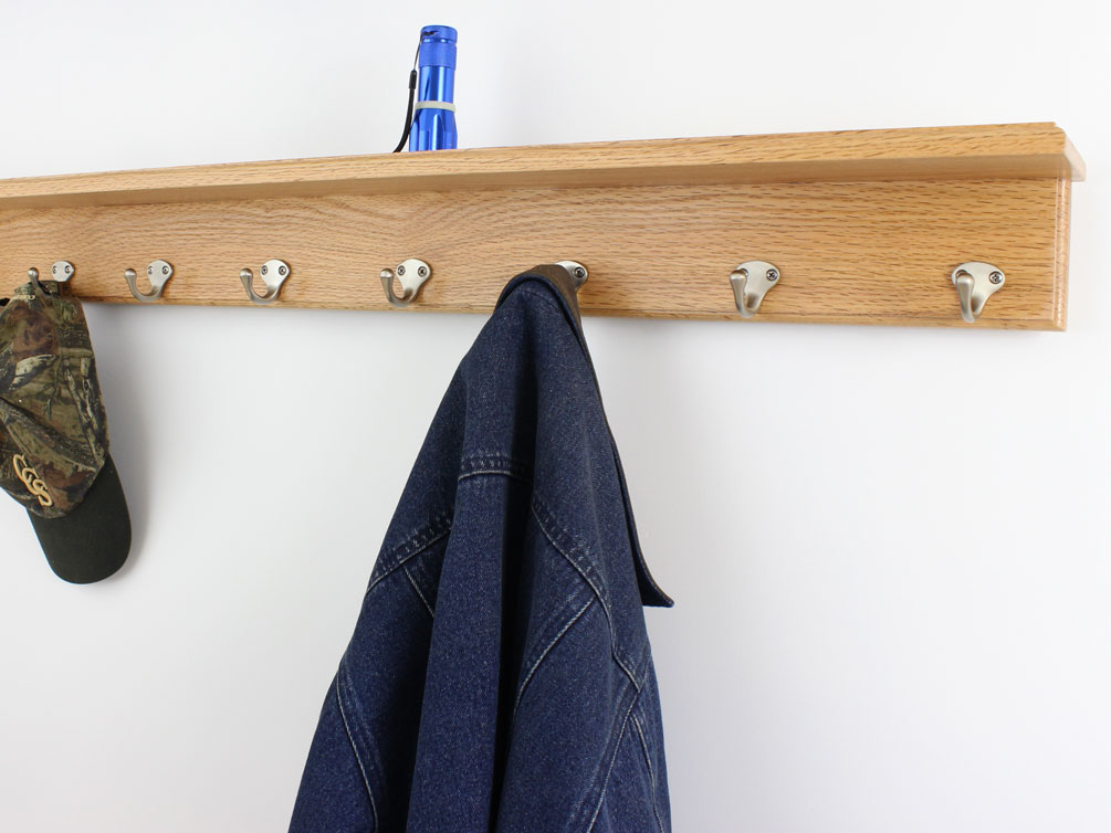 Solid Oak Shelf Coat Racks 3 To 10 Single Style Hook