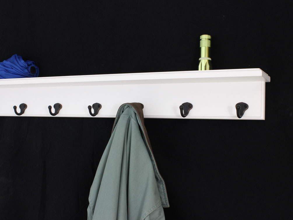 White Shelf Coat Racks With Single Style Hooks With Solid