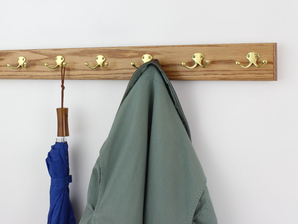 Oak 3.5 wide - Golden Oak Stain - Solid Brass Hooks