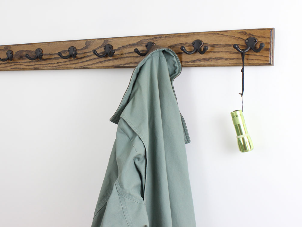 Oak 3.5 wide - Walnut Stain - Aged Bronze hooks