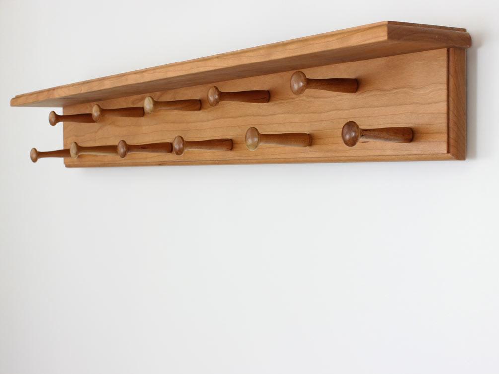 Cherry Double Row Peg Racks With Shelf Made In The Usa