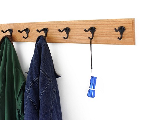 Solid Oak with Hat & Coat Style Hooks