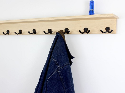 Maple Shelf Coat Rack &  Double Style Hooks