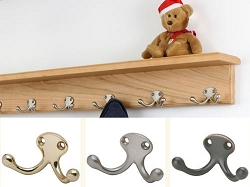 Cherry Shelf Coat Rack &  Double Style Hooks