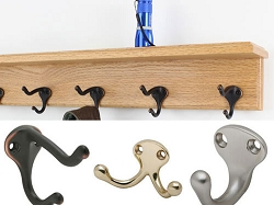 Solid Oak Shelf Coat Racks with Hooks