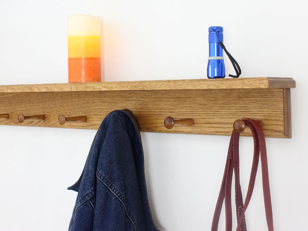 Solid Oak Peg Racks With A Shelf Made In The USA Extraordinary 24 Inch Coat Rack