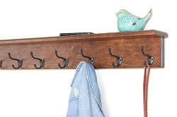 Solid Cherry Shelf Coat Racks With 9 Available Hooks