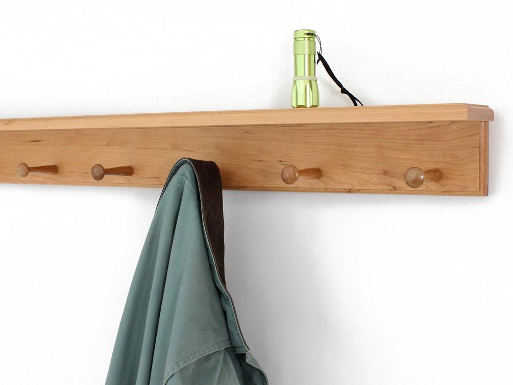 Solid Cherry Peg Racks With 4 Inch Deep Top Shelf Made