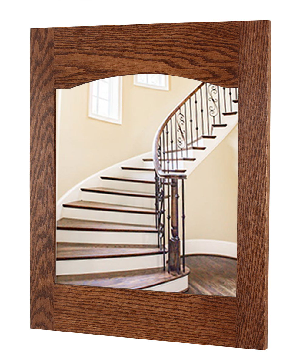 Solid Oak Arched Back Craftsman Style Mirror