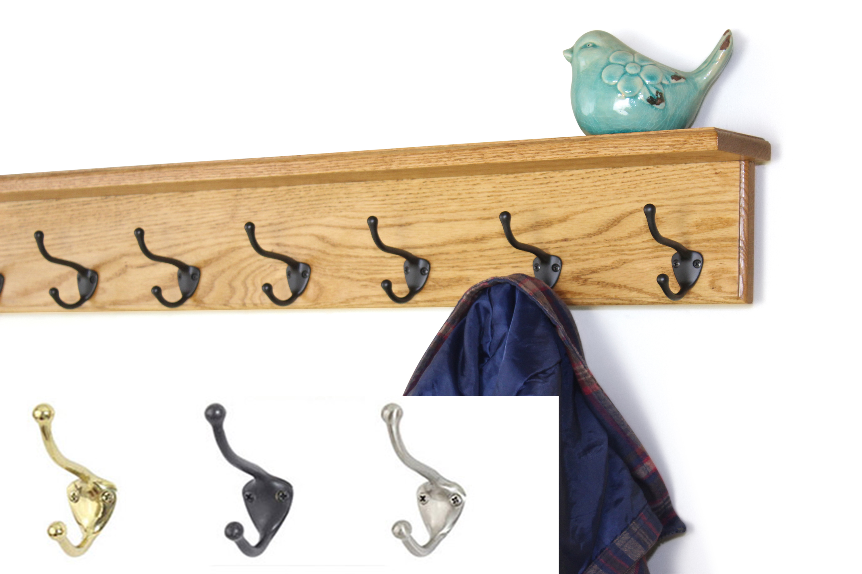 Oak Shelf Coat Rack with Hat & Coat Style Hooks