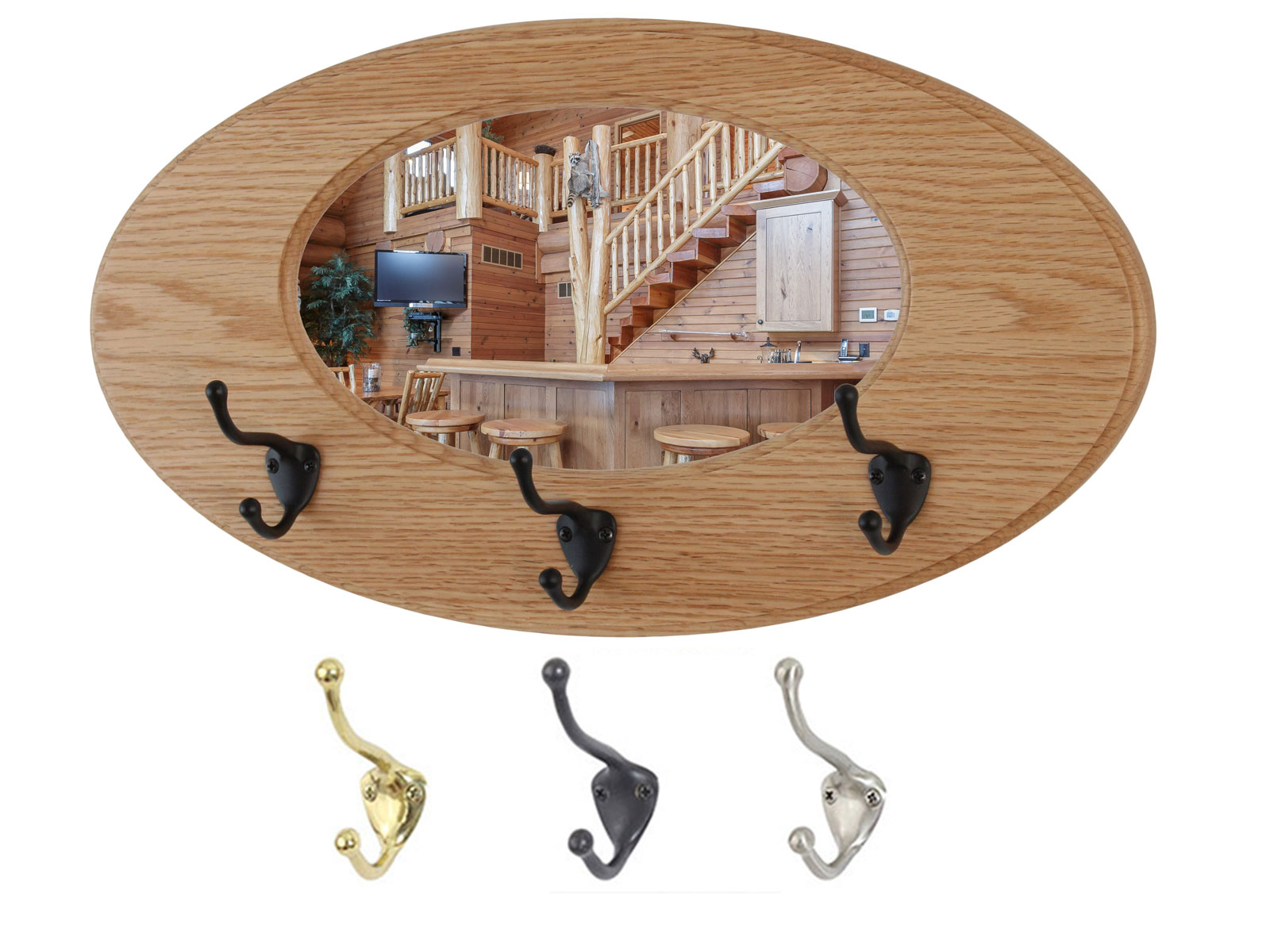 Oak Oval Mirror Coat Rack - Solid  Oak -  Hand Crafted in The USA  Select  Bronze , Solid Brass or Satin Nickel Hat and Coat Hooks