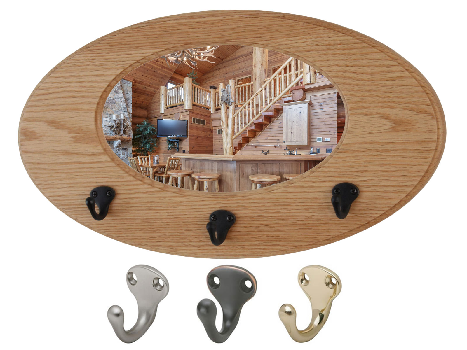 Oak Oval Mirror Coat Rack - Solid Oak -  Hand Crafted in The USA   Select  Bronze, Solid Brass or Satin Nickel single  Style Hooks