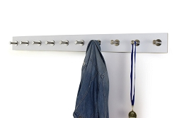 White  Contemporary Coat Rack With Stainless Steel Hooks Pegs