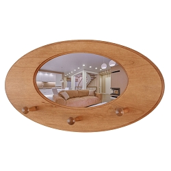 Cherry Oval Mirror Peg Rack - Solid Cherry Construction -  Hand Crafted in The USA