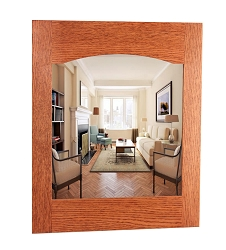 Solid Oak Arched Back Craftsman Style Mirror  Peg Rack