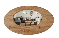Oak Oval Mirror Peg Rack - Solid Oak -  Hand Crafted in The USA