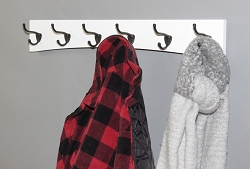White Arched Back Coat Rack  Contemporary Design - Handcrafted in the USA