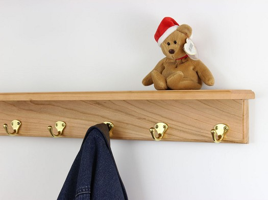 Cherry Shelf Coat Rack with Single Style Hooks