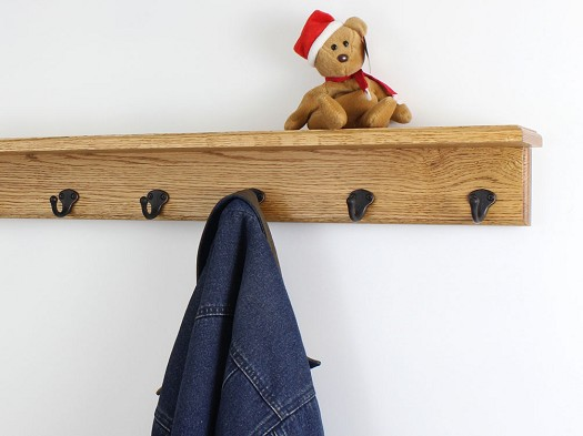 Oak Shelf Coat Rack Single Style Hooks