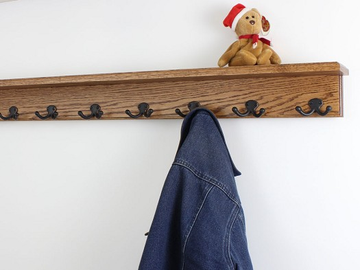 Oak Shelf Coat Rack Double Style Hooks
