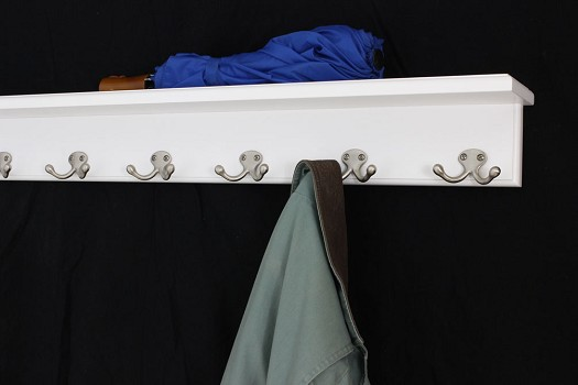 White Shelf Coat Rack - Double Style Hooks