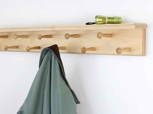 Solid Maple Double Row Peg Rack With Shelf