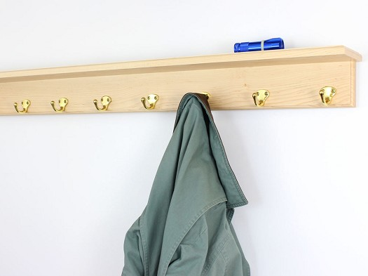 Maple Shelf Coat Rack with Single Style Hooks